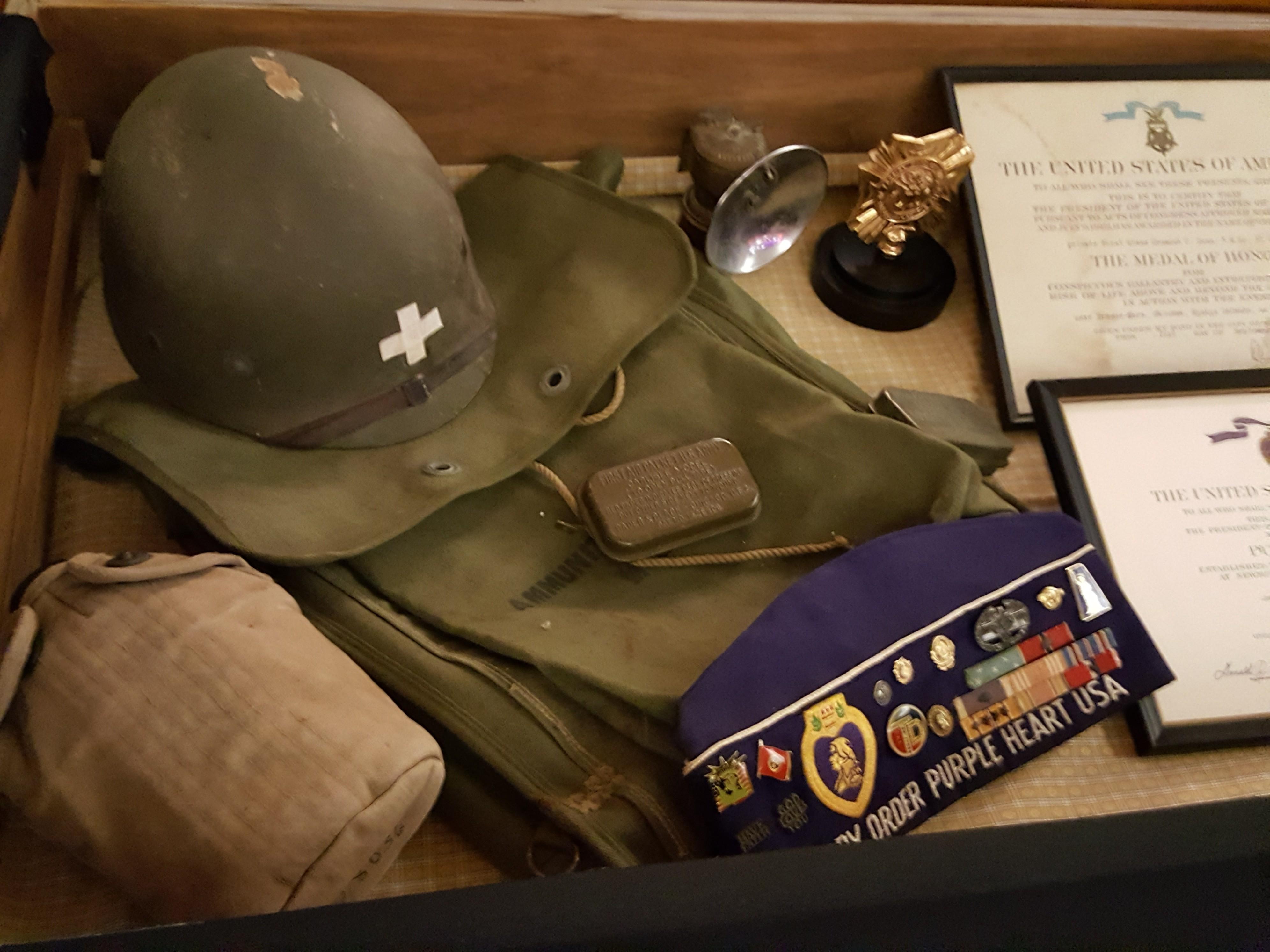 Helmet, knapsack and canteen of Desmond Doss