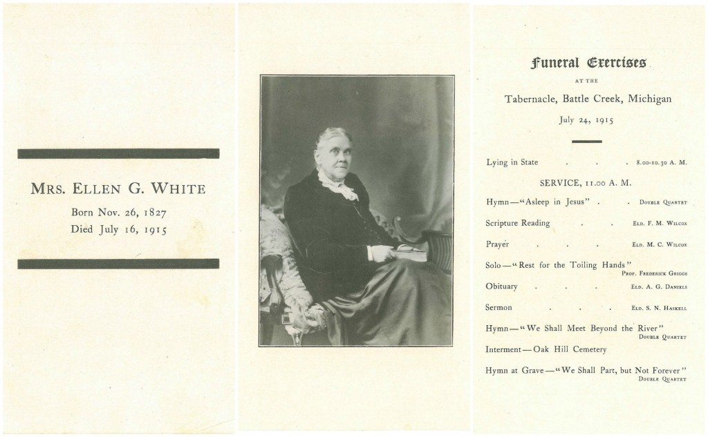 Funeral Program for Ellen G. White. Loma Linda University, Dept. of Archives & Special Collections