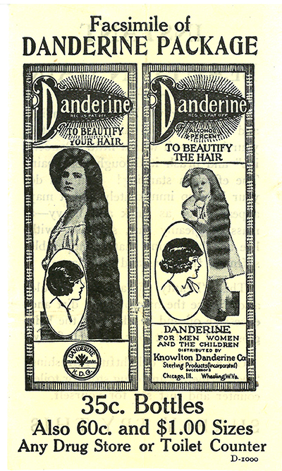 1920s advertisement for Danderine hair tonic. Available at your local Drug Store or Toilet Counter