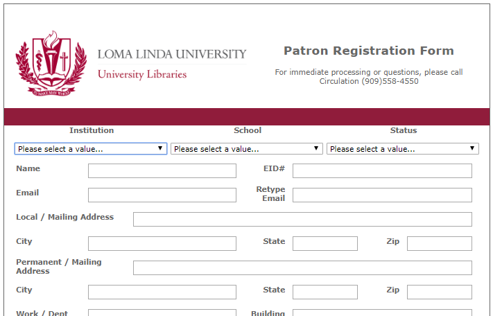 snippet of the patron registration form
