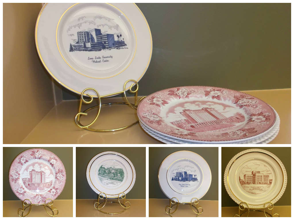 The commemorative plates, latest acquisition to the department of Archives and Special Collections