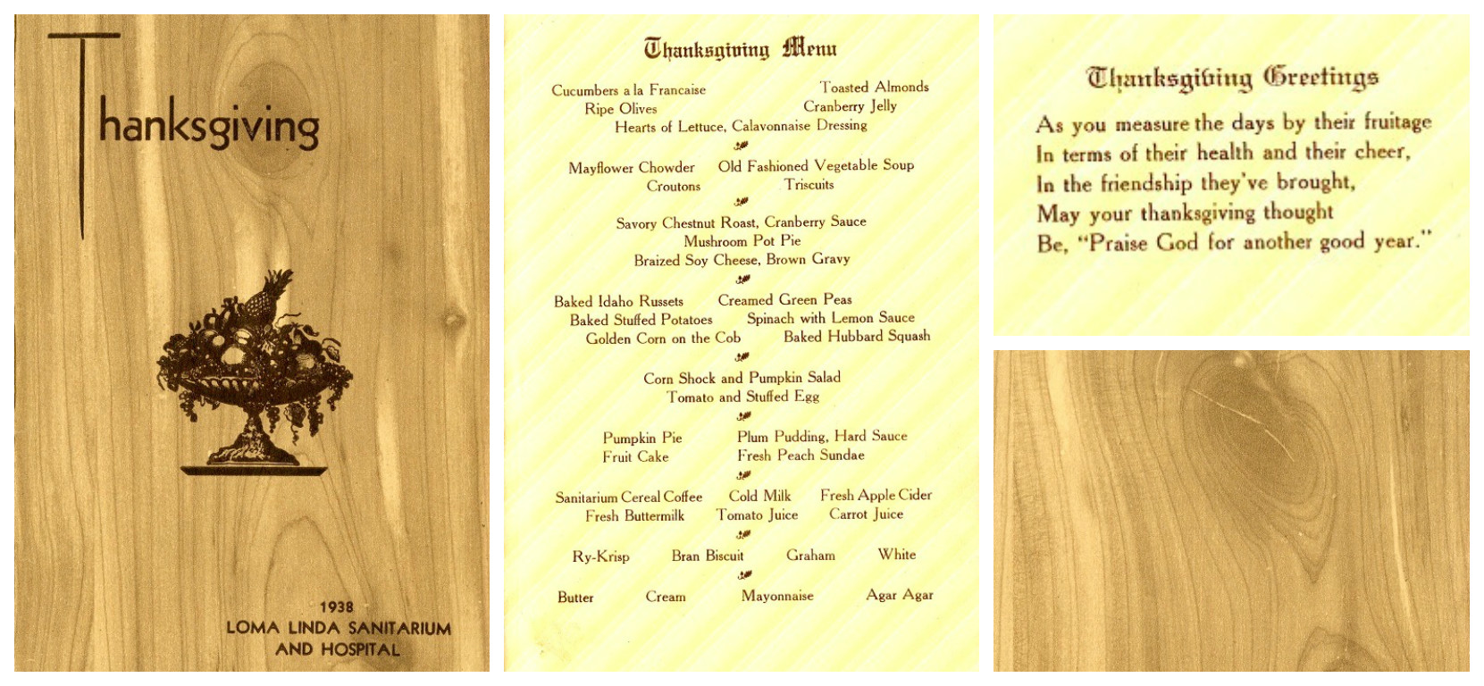 Thanksgiving dinner menu, 1938. Menu is printed on separate sheet of paper affixed to inside of card-stock folder